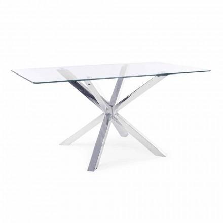Mesa de comedor con tapa de cristal templado Homemotion - Denda