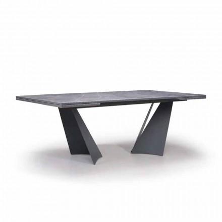 Mesa de comedor extensible hasta 294 cm en gres y metal Made in Italy - Nuzzio