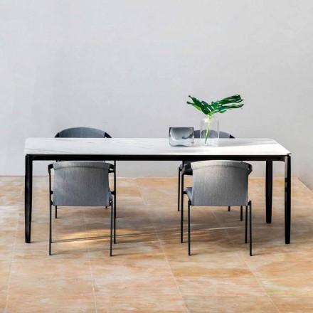 Mesa de comedor para jardín en aluminio y Hpl o Gres, varios acabados - Filomena