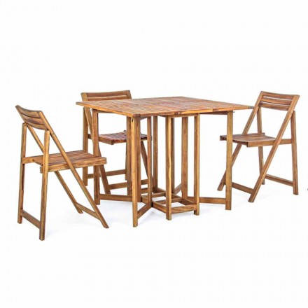 Mesa de exterior cuadrada en madera de acacia con 4 sillas plegables - Sage