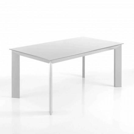 Mesa rectangular extensible hasta 220 cm blanca opaca Jordy