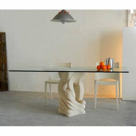 Mesa rectangular piedra Vicenza cristal hecha a mano Ascanio