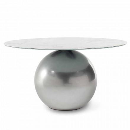 Mesa redonda de cerámica con base de metal Made in Italy - Bonaldo Circus