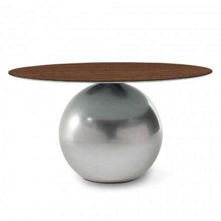 Mesa redonda de diseño con tapa de madera Made in Italy - Bonaldo Circus