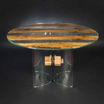 Mesa redonda de diseño madera Briccola Veneciana y cristal