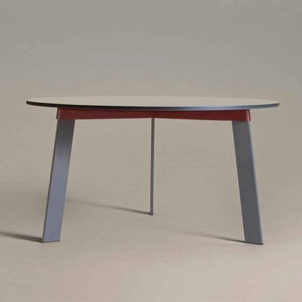 Mesa redonda de diseño moderno en acero y MDF lacado en color - Aronte
