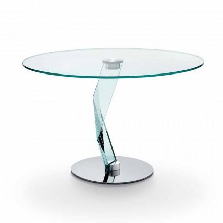 Mesa redonda de diseño moderno en vidrio extra claro hecho en Italia - Akka