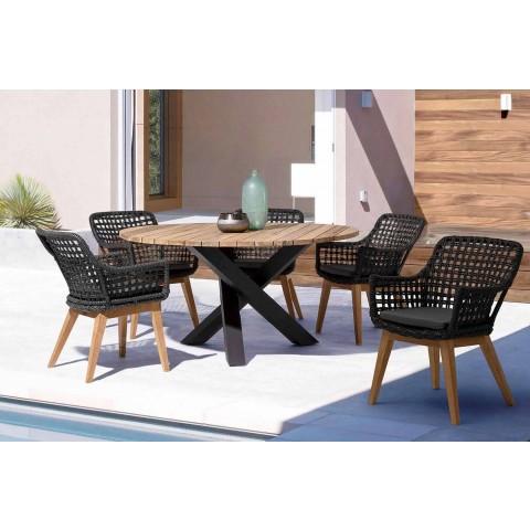 Mesa redonda moderna para exteriores con Homemotion - Sobre de madera de teca Ruben