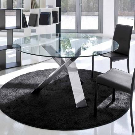 Mesa redonda de diseño d.120 superior de cristal realizada en Italia Cristal