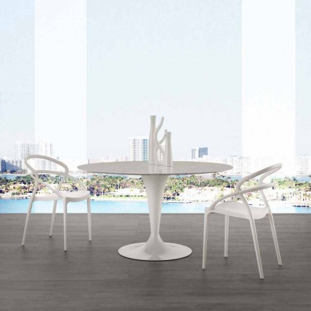 Mesa redonda de 120 cm con encimera de mármol blanco de carrara.