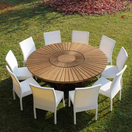 Mesa redonda de madera teca para interiores y exteriores Real Table