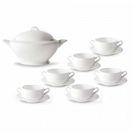 Tazas Soperas, Sopera y Platillo de Porcelana Blanca 13 Piezas - Samantha