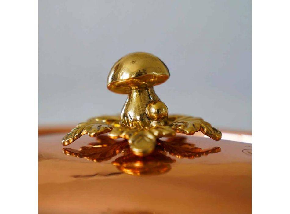Cacerola de Cobre Estañado a Mano Diseño Ovalado con Tapa 27x20 cm - Mariachiara