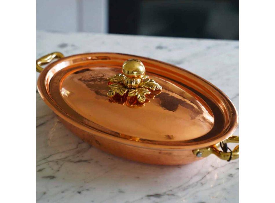 Cacerola de Cobre Estañado a Mano Diseño Ovalado con Tapa 36x26 cm - Mariachiara