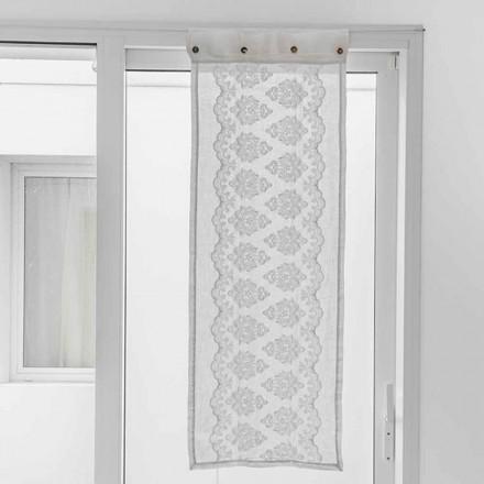 Cortina blanca de lino claro con bordado gótico de algodón - Gegia