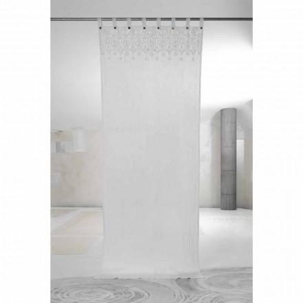 Cortina de Lino Claro Blanco con Encaje de Elegante Diseño Made in Italy - Geogeo