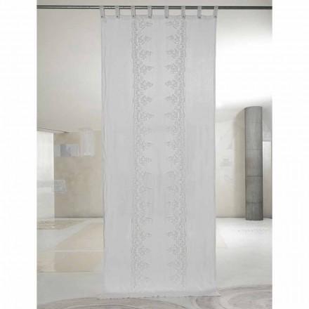 Cortina de lino blanco y claro con encaje central, diseño elegante - Geogeo