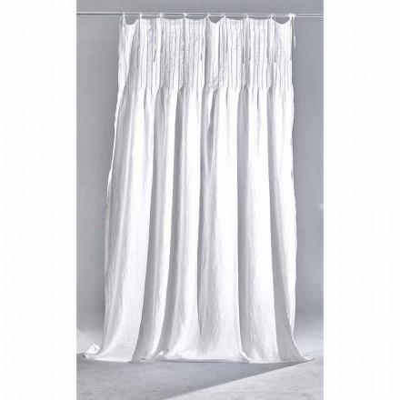 Cortina de lino claro blanco con diseño acanalado de calidad italiana - Tafta
