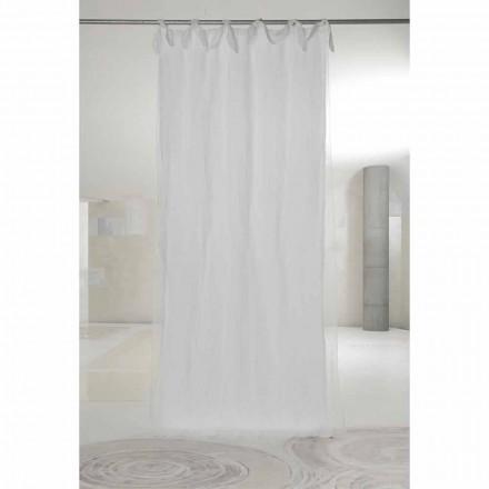 Cortina de organza y lino blanco con lengüetas, diseño de lujo Made in Italy - Ariosto