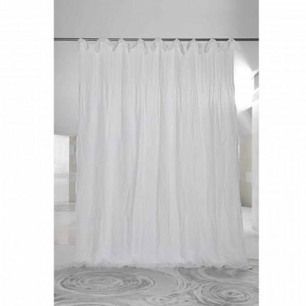 Cortina de organza y lino acanalado blanco, diseño italiano de lujo - Karnak