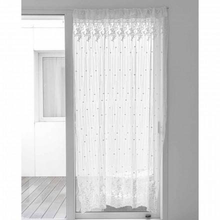 Cortina de Tul Blanco con Lunares y Bordados de Flores, Diseño - Eucariota
