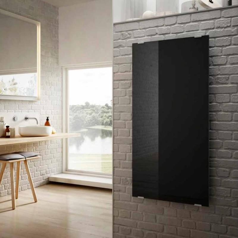 Radiador eléctrico Star de diseño moderno en vidrio negro, hecho en Italia