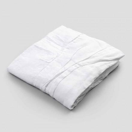 Mantel de lino blanco con cenefa de motivo plisado de lujo italiano - Tippel