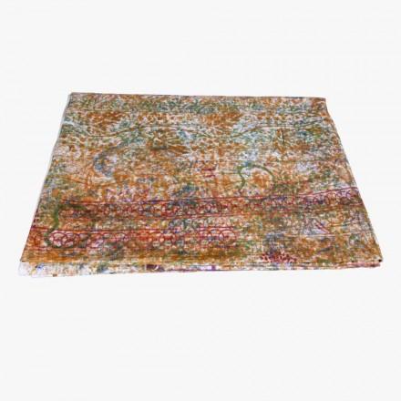 Mantel de arte italiano con pieza única impresa en algodón a mano