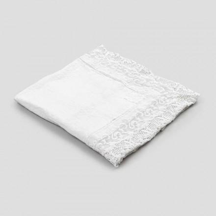 Mantel cuadrado de lino con diseño de lujo de encaje blanco Made in Italy - Olivia