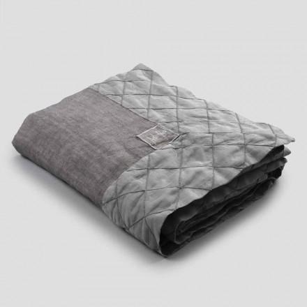 Mantel de lino antracita y borde con decoración geométrica, hecho a mano - Dippel