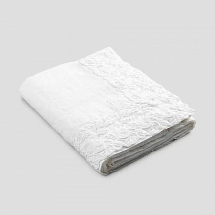 Mantel blanco de lino o mantequilla con diseño rectangular de encaje Farnesio - Kippel
