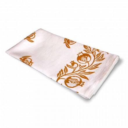 Mantel de lino de alta artesanía con lámina italiana