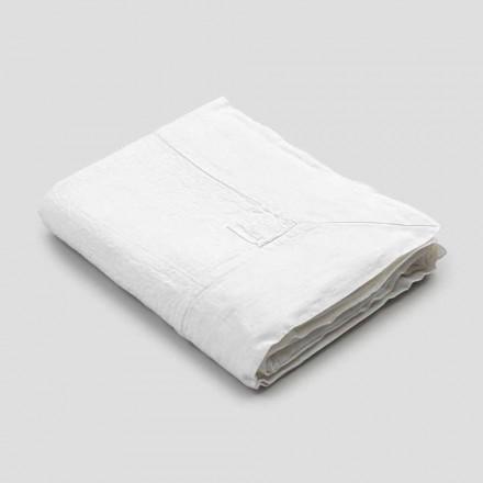 Mantel rectangular de lino con borde o encaje blanco, diseño de lujo - Davinci