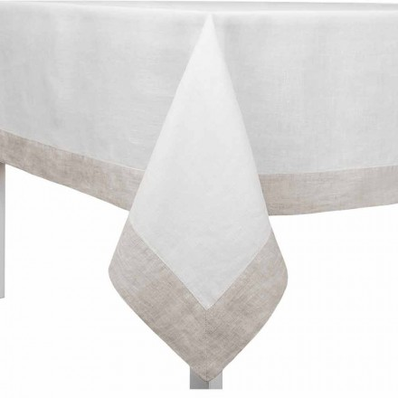 Mantel de lino blanco y natural, rectangular o cuadrado Made in Italy - Poppy