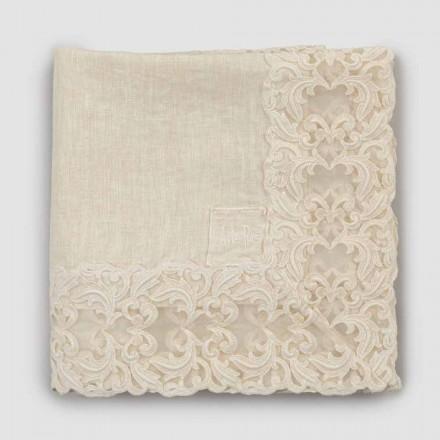 Mantel cuadrado de lino beige con encaje Farnesio de lujo artesanal - Kippel