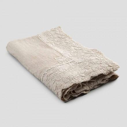 Mantel cuadrado de lino beige con bordado artesanal de pétalos de lujo - Vippel