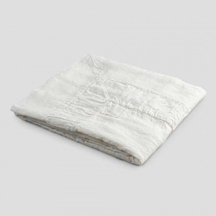 Mantel Cuadrado de Lino Blanco, Marco y Borde Plegado en Relieve - Mippel