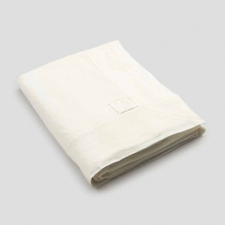 Mantel rectangular grande de lino blanco pesado con bordes enmarcados - Davinci