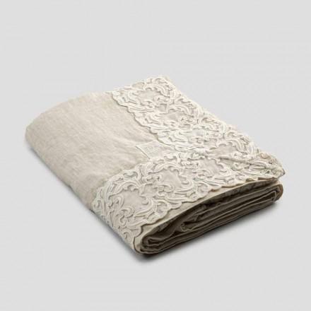 Mantel rectangular de lino beige con encaje artesanal de lujo Farnese - Kippel