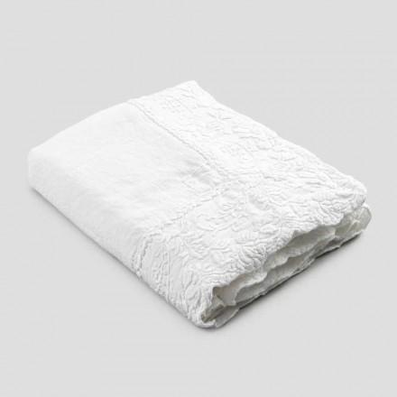 Mantel rectangular de lino beige con bordado de pétalos de lujo artesanal - Vippel
