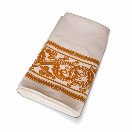 Mantel impreso a mano de alta artesanía italiana en algodón y lino