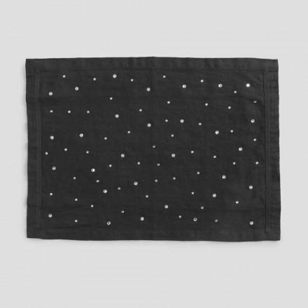 Mantel individual de lino negro con cristales, artesanía italiana, 2 piezas - Nabuko