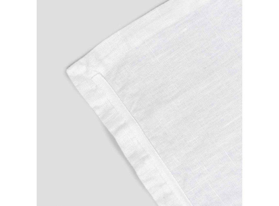 Mantel individual de lino blanco puro con marco o encaje Made in Italy - Davincino