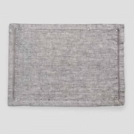 Manteles individuales de desayuno americano en lino gris con cristales 2 piezas - Macanno