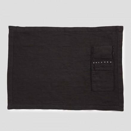 Manteles individuales americanos y bandejas para cubiertos con cristales en lino negro, 4 piezas - Nabuko