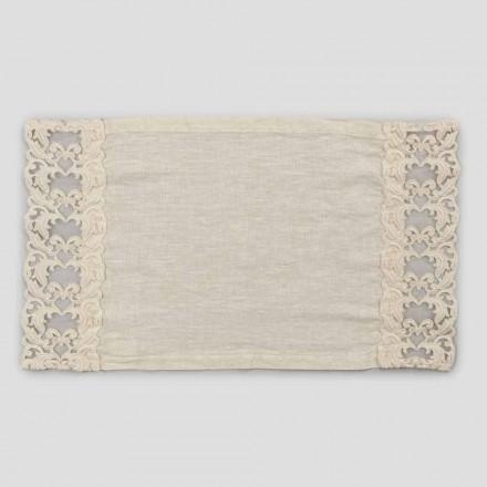 Manteles individuales de desayuno americano de lino con encaje, diseño de 2 piezas - Kippelino