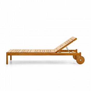 Varaschin Barcode tumbona con ruedas al aire libre en madera de teca