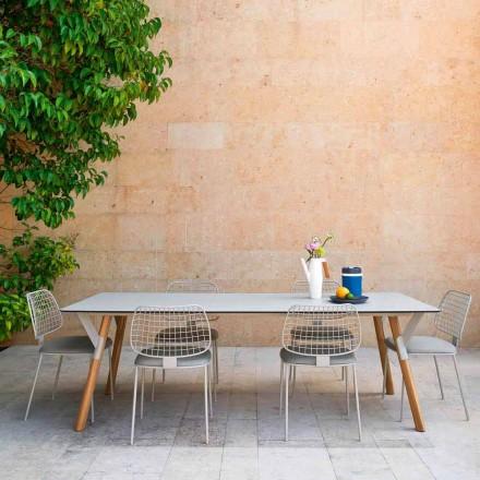 mesa Varaschin Enlace con patas de madera de teca, H 75 cm