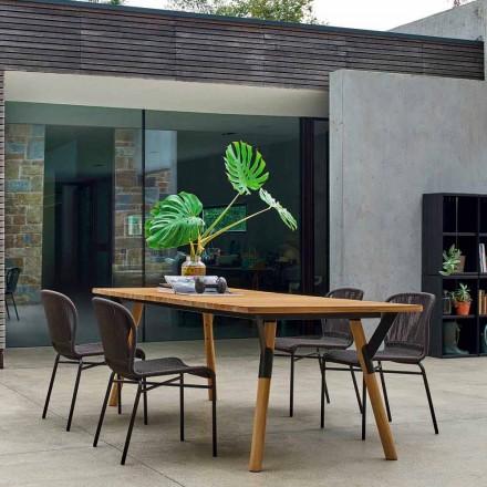 Varaschin Enlace madera de teca de comedor mesa de jardín H 75 cm
