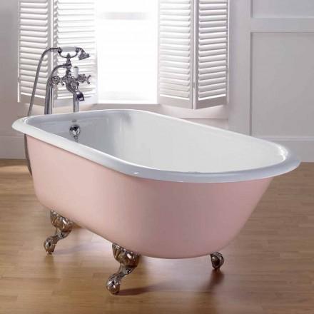 diseño pintado bañera de hierro fundido con pies decorados de Sally